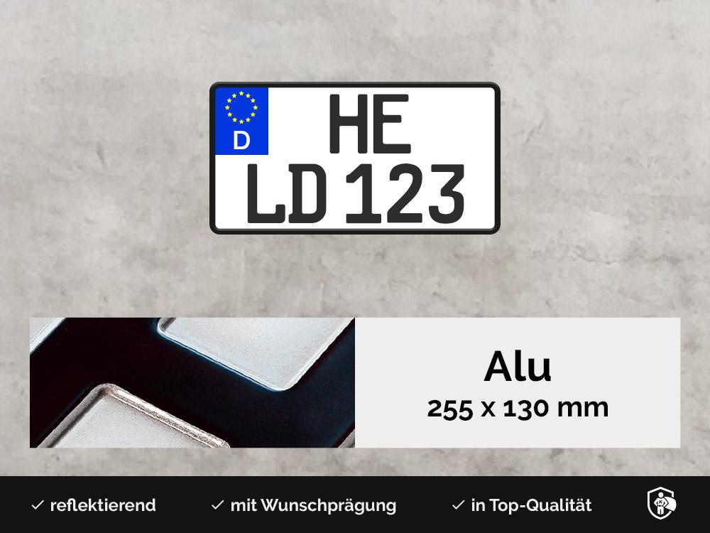 Alu Kennzeichen in 255x130