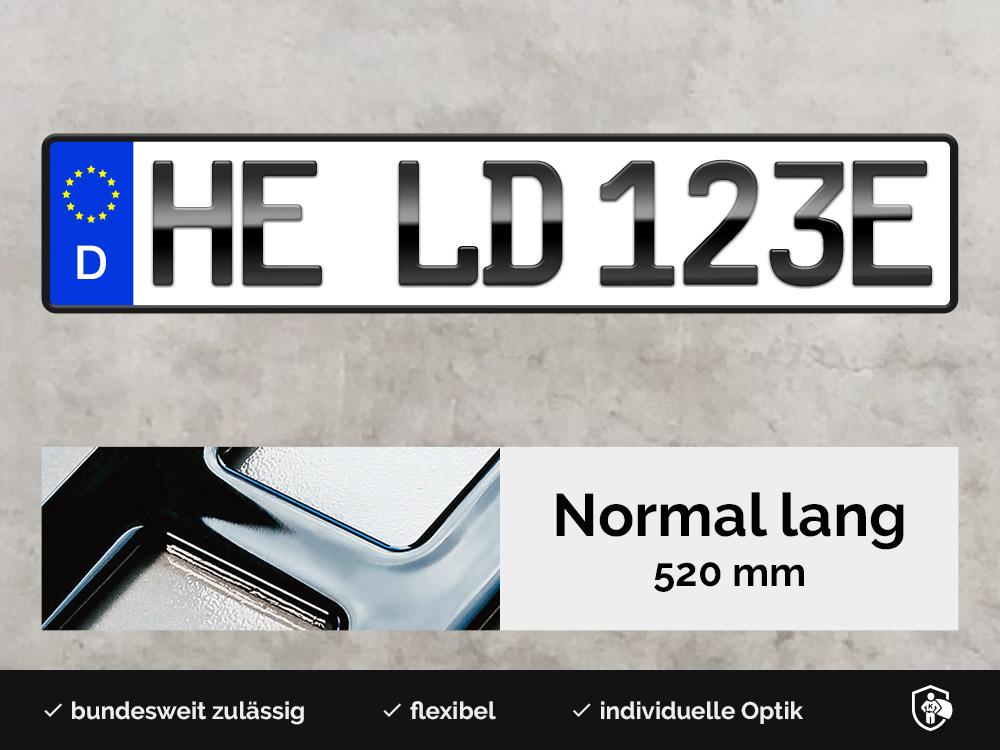 3D E-Kennzeichen in Hochglanz