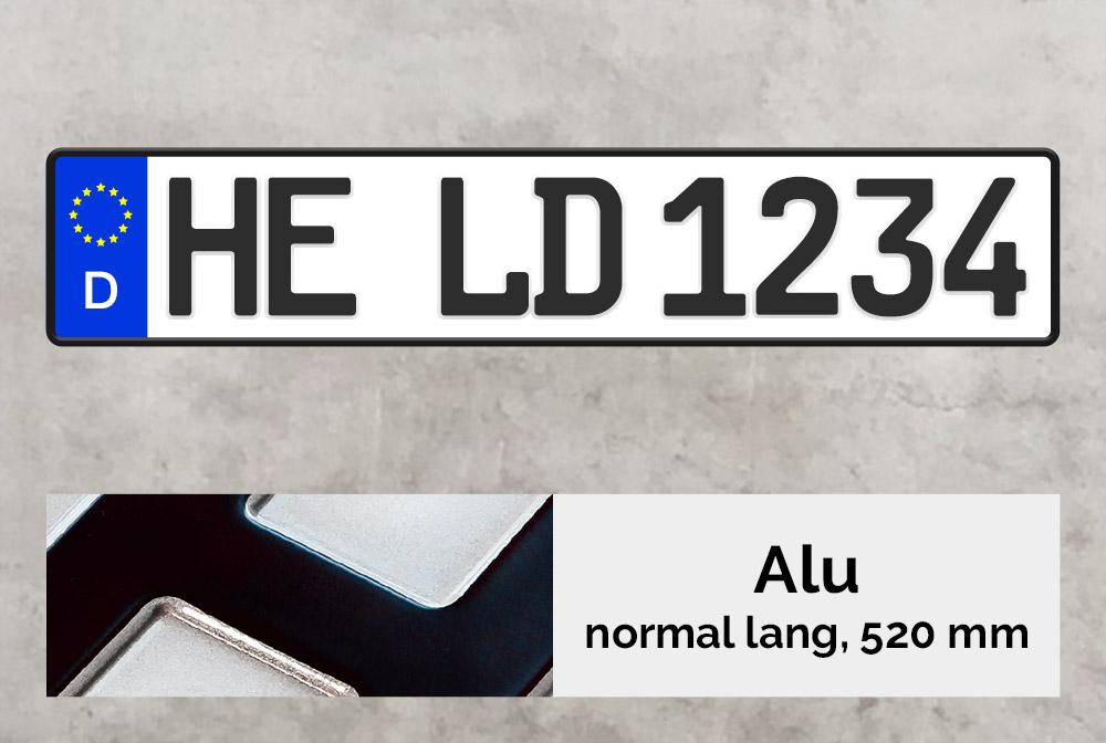 Alu Kennzeichen in Schwarz inkl. Kennzeichenhalter