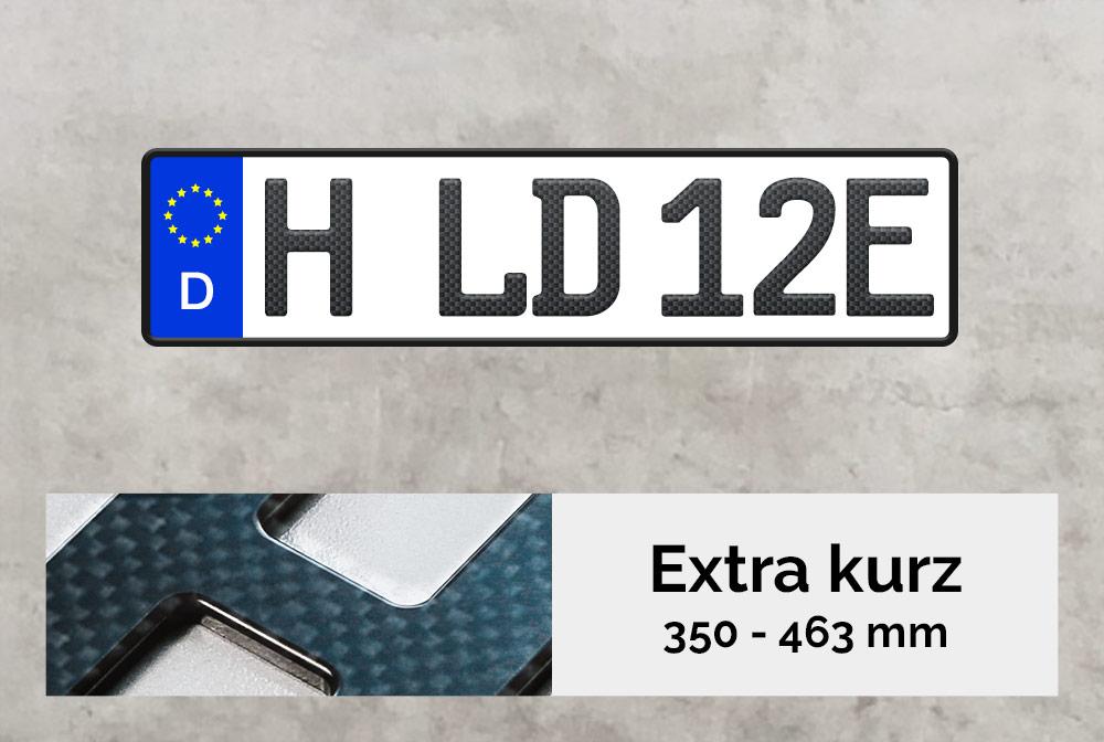 3D E-Kennzeichen XS in Carbon-Optik Matt