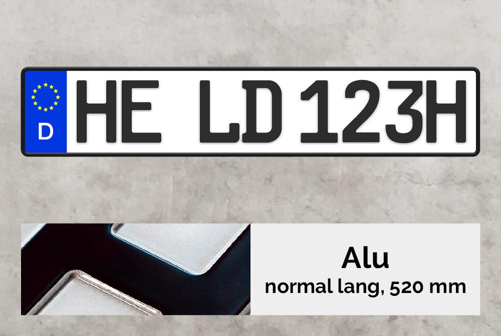 Alu H-Kennzeichen in Schwarz inkl. Kennzeichenhalter