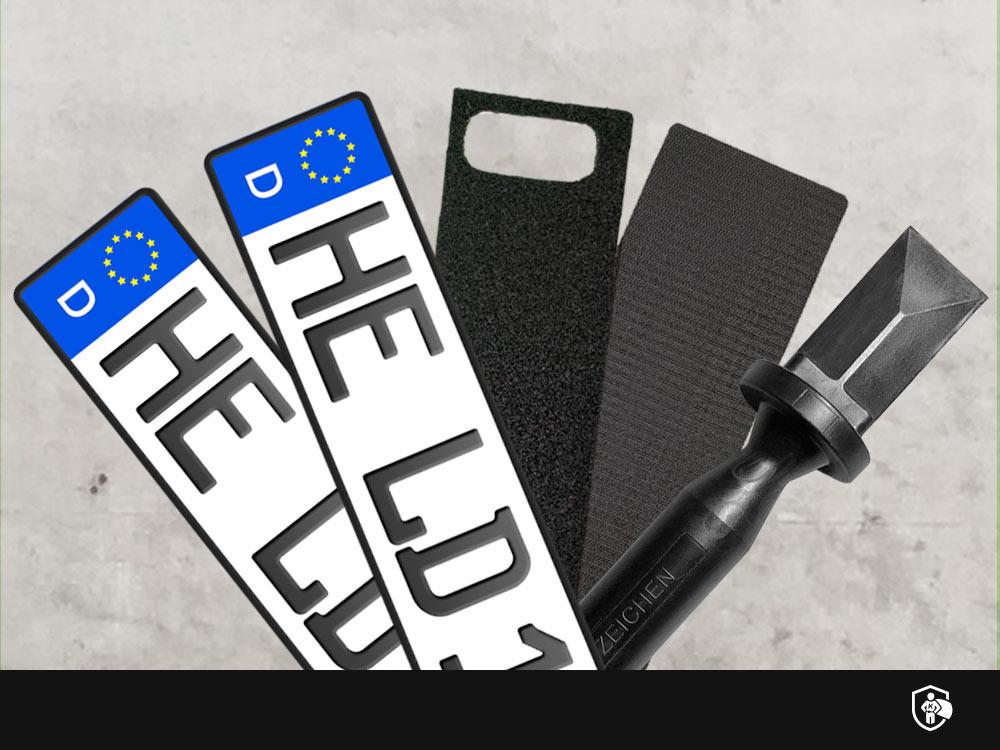 Spar-Set: 3D Kennzeichen in Schwarzmatt mit Easy Fix und Plakettenentferner