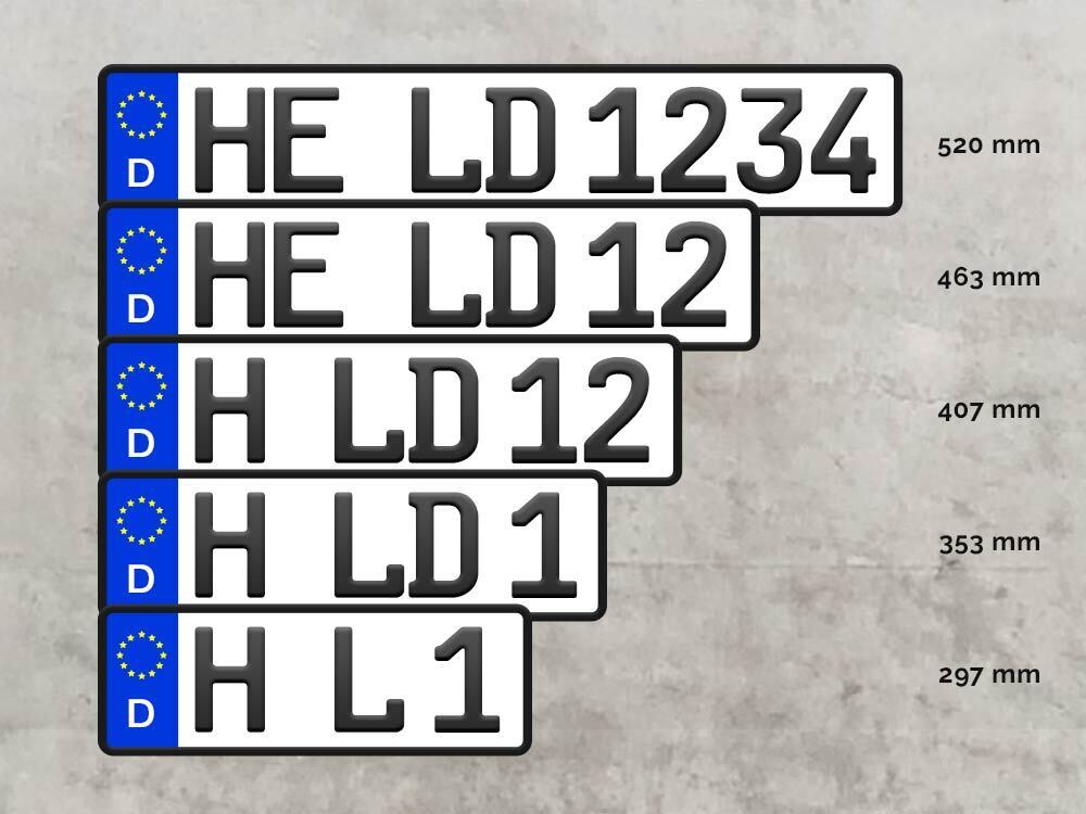 Verschiedene Kennzeichenlängen