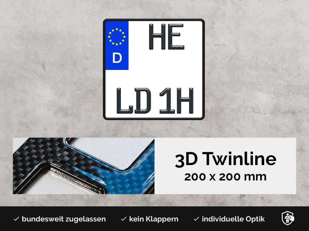 3D TWINLINE Historisch in Carbon-Optik 200 x 200