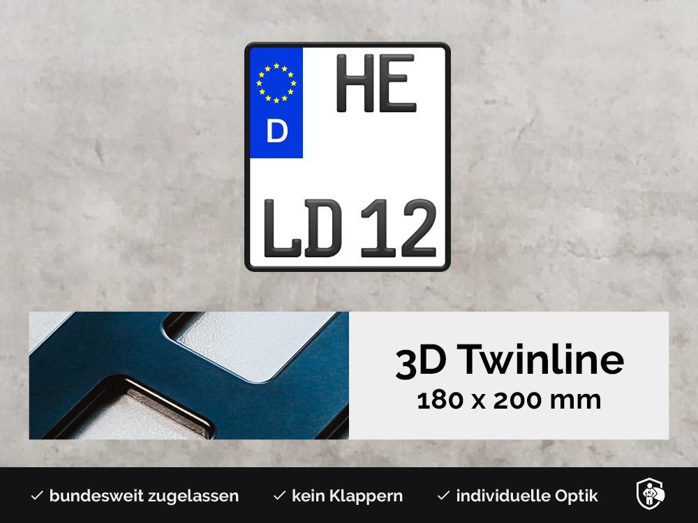 3D TWINLINE in Schwarzmatt 180 x 200
