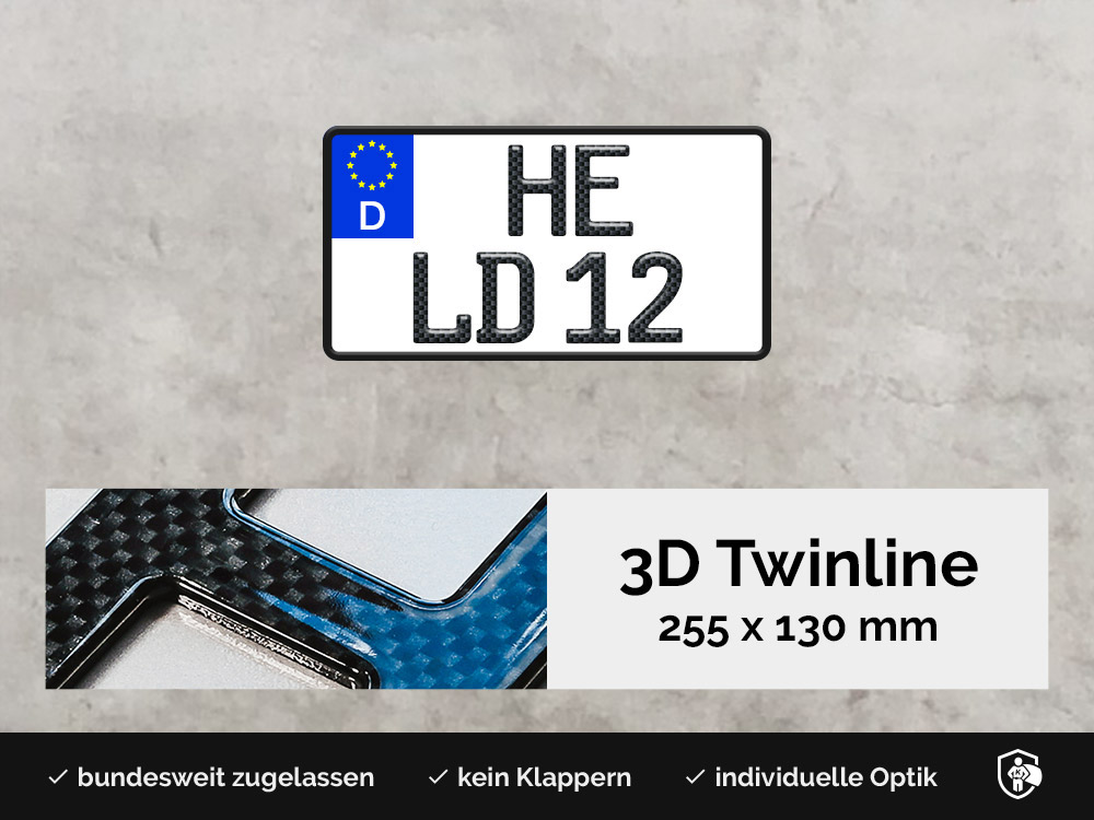 3D TWINLINE in Carbon-Optik 255 x 130