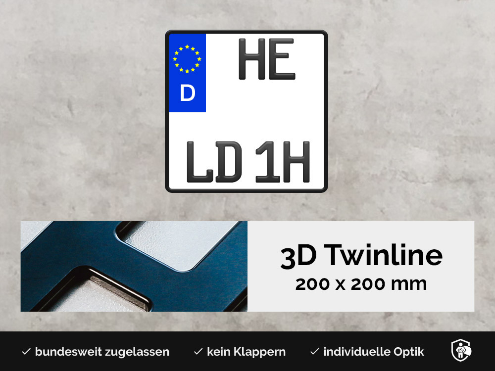 3D TWINLINE Historisch in Schwarzmatt 200 x 200