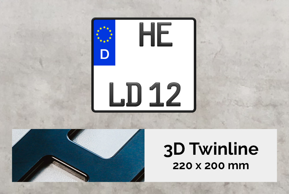 3D TWINLINE in Schwarzmatt 220 x 200