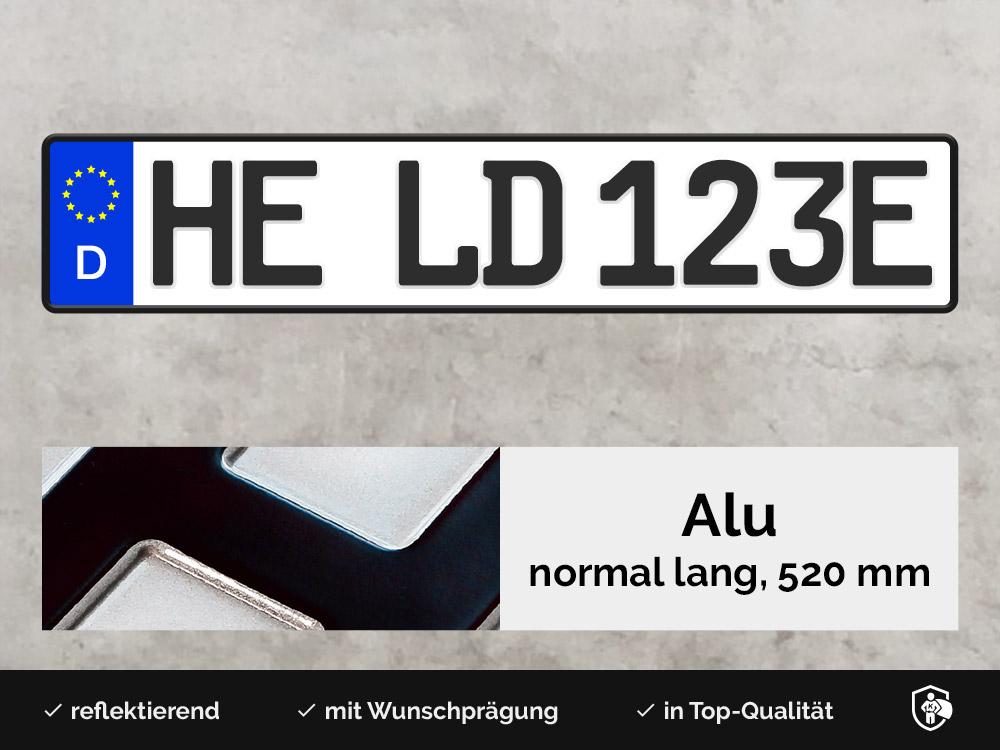 Alu E-Kennzeichen in Schwarz inkl. Kennzeichenhalter