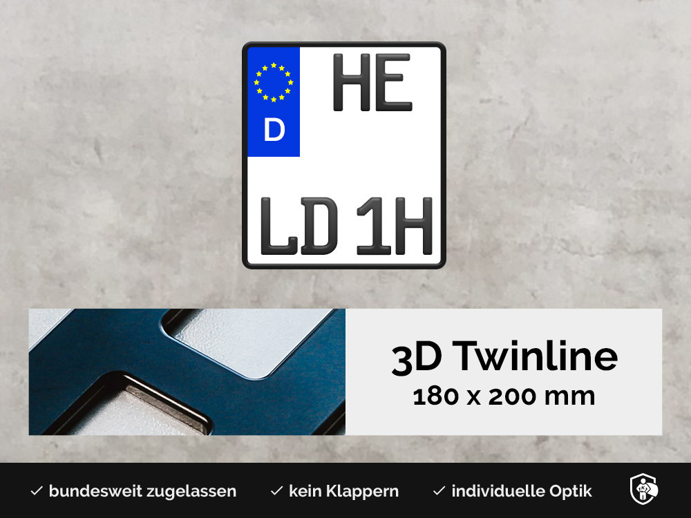 3D TWINLINE Historisch in Schwarzmatt 180 x 200