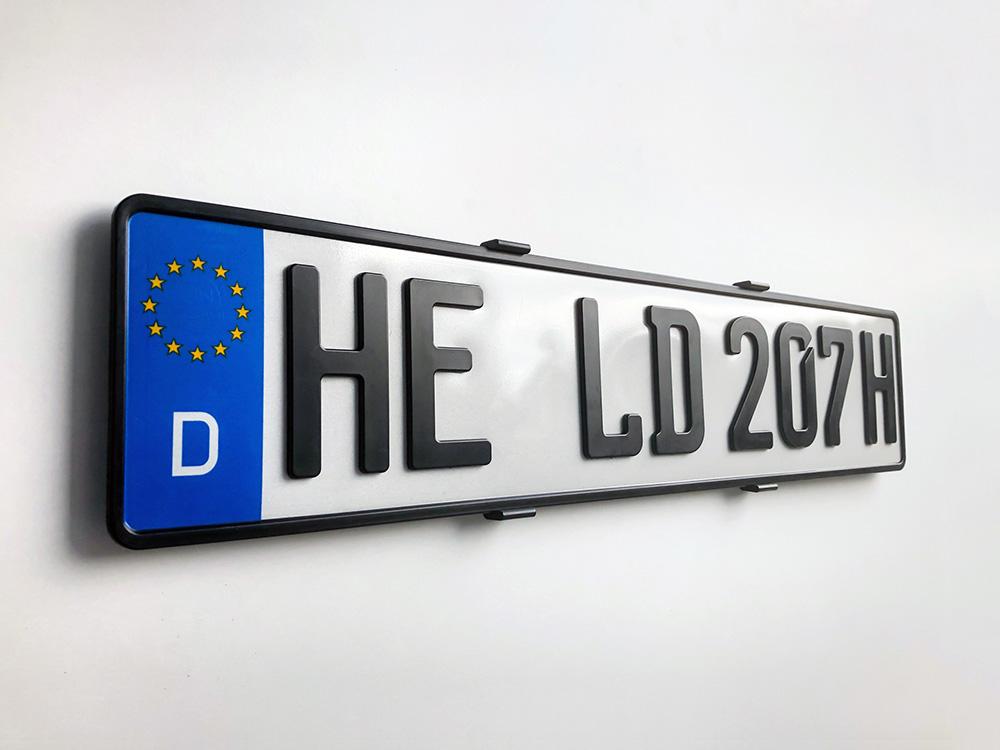 3D H-Kennzeichen in Schwarzmatt
