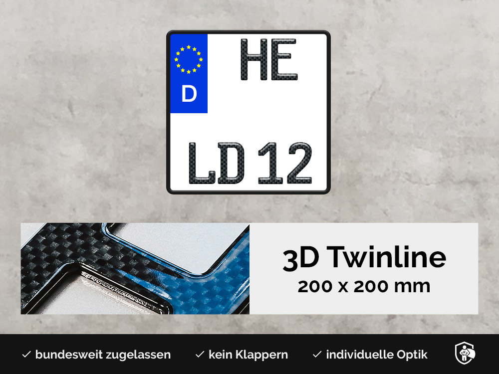 3D TWINLINE in Carbon-Optik 200 x 200