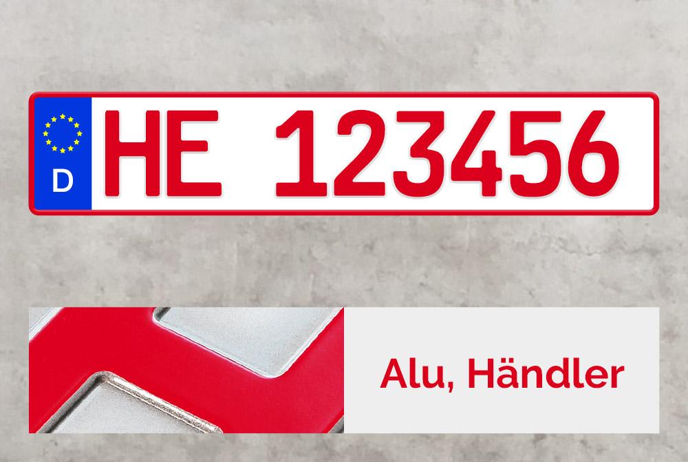 Alu Händlerkennzeichen in Rot