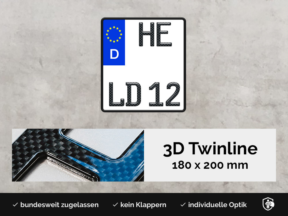 3D TWINLINE in Carbon-Optik 180 x 200