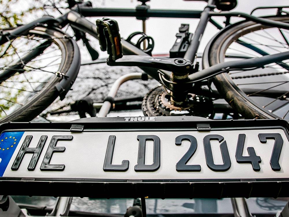 3D Fahrradträger-Kennzeichen in Hochglanz