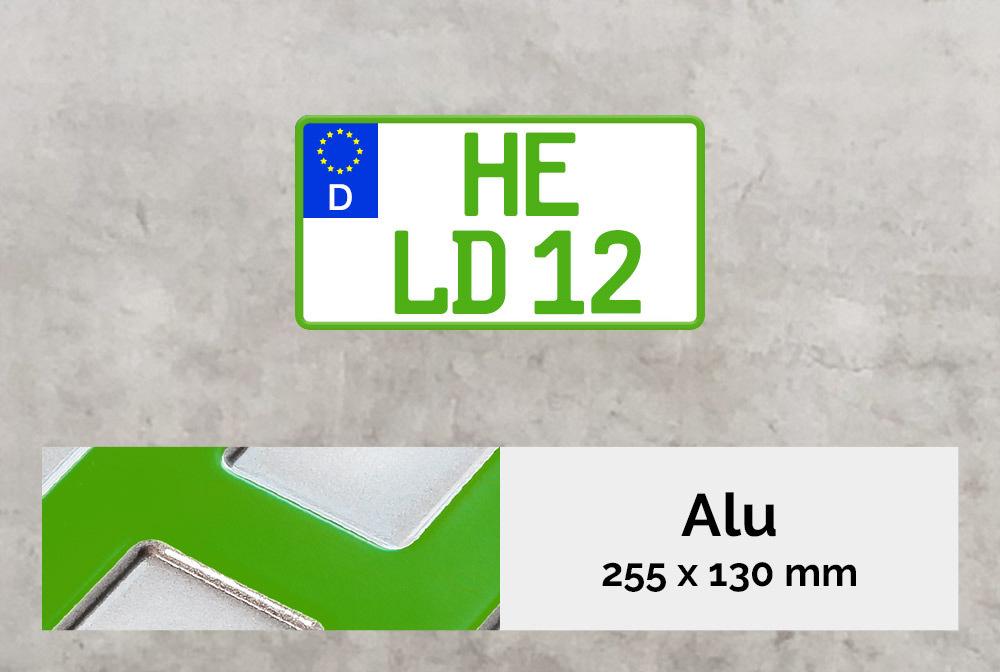 Alu Kennzeichen in Grün 255x130