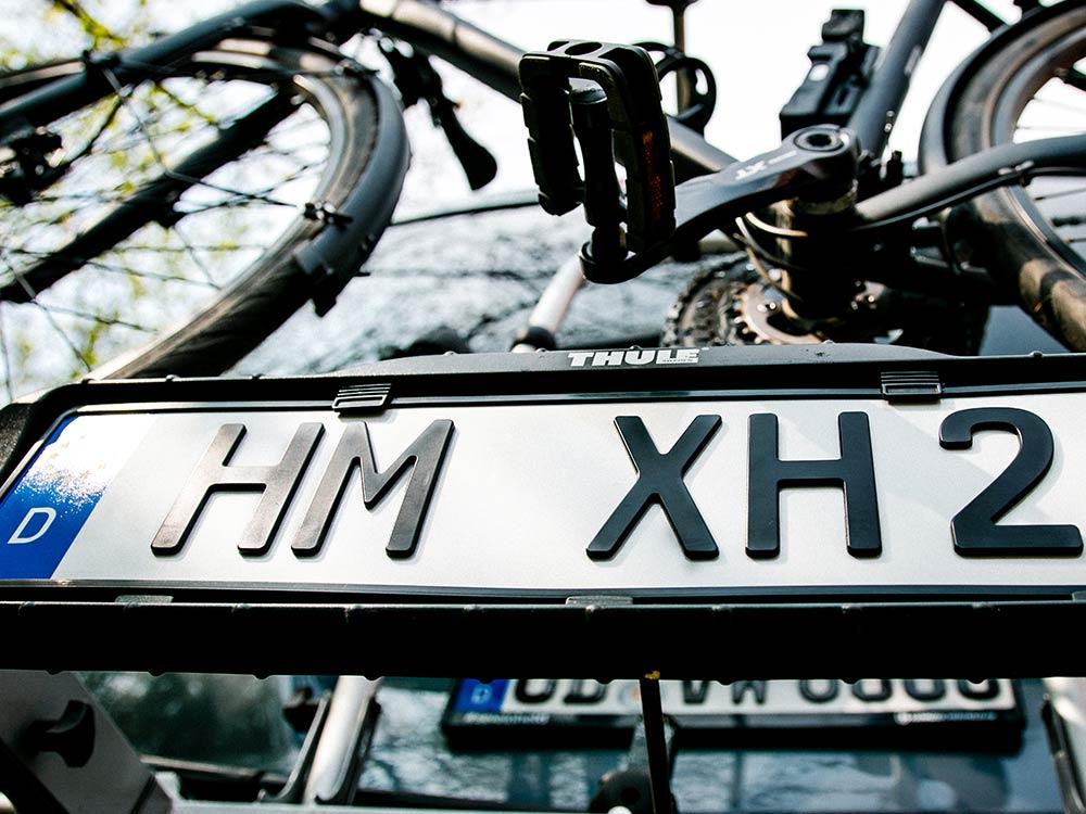 3D Fahrradträger-Kennzeichen in Schwarzmatt