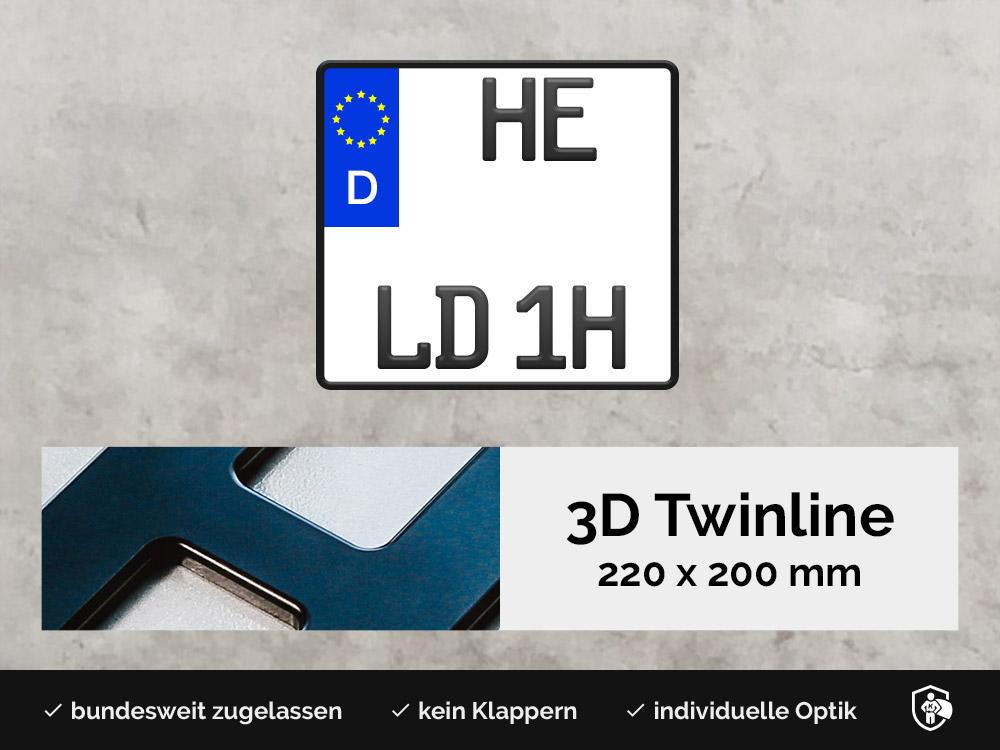 3D TWINLINE Historisch in Schwarzmatt 220 x 200