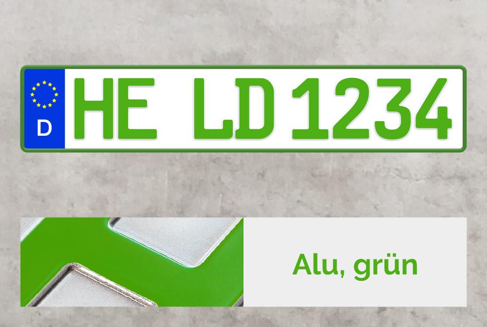Alu Kfz-Kennzeichen in Grün