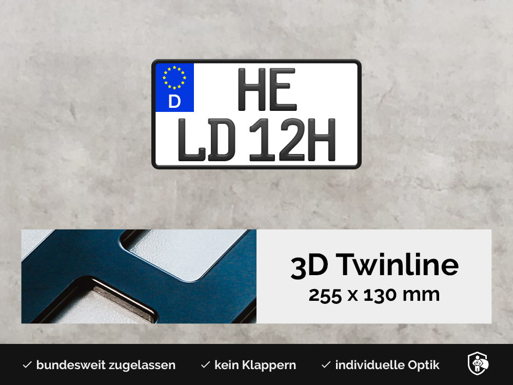 3D TWINLINE Historisch in Schwarzmatt 255 x 130